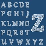 Templates for cutting out letters. Full English alphabet. May be used for laser cutting. Fancy lace letters. Flower ornament stock illustration