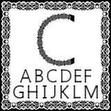 Templates for cutting out letters. Full English alphabet. May be used for laser cutting. Fancy lace letters. Font isolated white. Background. A set of symbols vector illustration