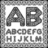 Templates for cutting out letters. Full English alphabet. May be used for laser cutting. Fancy lace letters. Font white background. A set of symbols in a lacy vector illustration