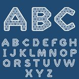Templates for cutting out letters. Full English alphabet. May be used for laser cutting. Fancy lace letters royalty free illustration