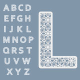 Templates for cutting out letters. Full English alphabet.  May be used for laser cutting. Royalty Free Stock Photos