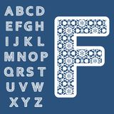 Templates for cutting out letters. Full English alphabet. May be used for laser cutting. Fancy lace letters vector illustration