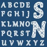 Templates for cutting out letters. Full English alphabet. May be used for laser cutting. Fancy lace letters. Flower ornament vector illustration