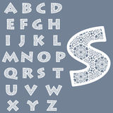 Templates for cutting out letters. Full English alphabet. May be used for laser cutting. Fancy lace letters. Vector royalty free illustration