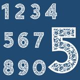 Templates for cutting out letters. Full set of numbers. May be used for laser cutting. Fancy lace numbers. Flower ornament vector illustration