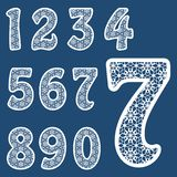 Templates for cutting out letters. Full set of numbers. May be used for laser cutting. Fancy lace numbers stock illustration