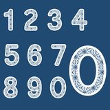 Templates for cutting out letters. Full set of numbers. May be used for laser cutting. Fancy lace numbers royalty free illustration