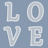 Templates for cutting out letters of the word love. May be used for laser cutting. Fancy lace letters. Vector stock illustration