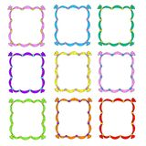 Set of frames. Frame templates are multicolored. Frames with ribbons. Vector isolated on white background. Templates for design. Set of frames. Frame templates Stock Images