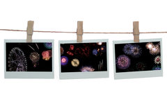 Templates with Fireworks. Polaroid templates hanged on a rope over white background -fireworks subject stock photo
