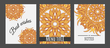 Templates with Floral mandala pattern and ornaments.. Vector Flyer oriental design Layout template. Islam, Arabic, Indian, ottoman motifs Royalty Free Stock Photos