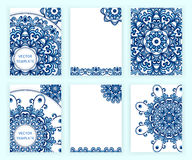 Templates for flyer, banner, brochure, placard, poster, greeting card. Abstract backgrounds with mandalas. Stock Images