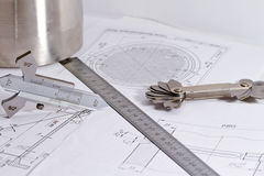 Free Templates For Visual Measurement Control Are On The Drawing Pipe Stock Photo - 61269210
