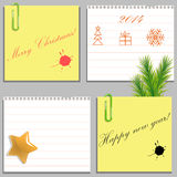 Templates of four Christmas stickers and blanks Stock Photo