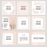 Templates Frame square fluide art instagram Gold Fashion. Text vector illustration