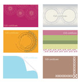 Templates gift certificate. Different gift, voucher and coupon with ornaments Stock Photos
