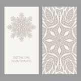 Templates for greeting and business cards. Templates for greeting and business cards, brochures, covers with floral motifs. Oriental lace pattern. Mandala Stock Photos