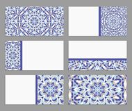 Templates for greeting and business cards, brochures, covers with floral motifs. Oriental pattern.  Stock Photo