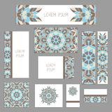 Templates for greeting and business cards, brochures, covers with floral motifs. Oriental pattern. Mandala. Templates for greeting and business cards, brochures Stock Images
