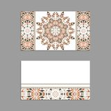 Templates for greeting and business cards, brochures, covers with floral motifs. Oriental pattern. Mandala. Invitation, save the date, RSVP Royalty Free Stock Photography