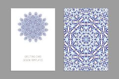 Templates for greeting and business cards, brochures, covers with floral motifs. Oriental pattern. Mandala. Wedding invitation, save the date, RSVP Royalty Free Stock Image