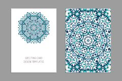 Templates for greeting and business cards, brochures, covers with floral motifs. Oriental pattern. Mandala. Wedding invitation, save the date, RSVP Royalty Free Stock Photo