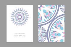 Templates for greeting and business cards, brochures, covers with floral motifs. Oriental pattern. Mandala. Wedding invitation, save the date, RSVP Stock Photo