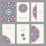 Templates for greeting and business cards, brochures, covers with floral motifs. Oriental pattern. Mandala. Wedding invitation, save the date, RSVP. Arabic Royalty Free Stock Images
