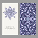 Templates for greeting and business cards, brochures, covers with floral motifs. Oriental pattern Royalty Free Stock Photography