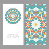 Templates for greeting and business cards, brochures, covers with floral motifs. Oriental pattern. Mandala. Wedding invitation, save the date, RSVP. Arabic Royalty Free Stock Photo