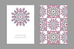 Templates for greeting and business cards, brochures, covers with floral motifs. Oriental pattern. Mandala. Wedding invitation, save the date, RSVP. Arabic Stock Photography