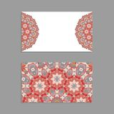 Templates for greeting and business cards, brochures, covers with floral motifs. Oriental pattern. Mandala. Invitation, save the date, RSVP Royalty Free Stock Images