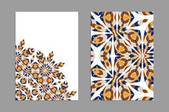 Templates for greeting and business cards, brochures, covers with floral motifs. Oriental pattern. Mandala. Wedding invitation, save the date, RSVP Stock Photos