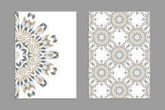 Templates for greeting and business cards, brochures, covers with floral motifs. Oriental pattern. Mandala. Wedding invitation, save the date, RSVP Stock Image