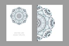 Templates for greeting and business cards, brochures, covers with floral motifs. Oriental pattern. Mandala. Wedding invitation, save the date, RSVP royalty free illustration
