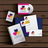 Templates of hearts of corporate stationery over wooden background. Vector illustration Stock Photography