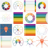Templates 16 Infographics cyclic processes eight positions Stock Photos