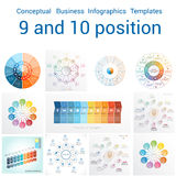 Templates Infographics for nine and ten positions Royalty Free Stock Photography