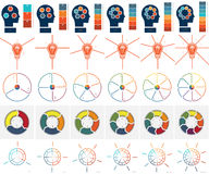 Templates Infographics with text area on 3, 4, 5, 6, 7, 8 positi Royalty Free Stock Images