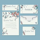Templates of invitation card and letter. Set of template of blank letter, cards and envelope. Used clipping mask Stock Illustration