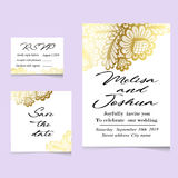 Templates of invitation lace cards for wedding. Vector Royalty Free Stock Photos
