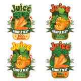 Templates for labels of juice from carrots and pumpkin Stock Image
