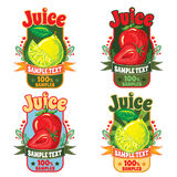Templates for labels of juice from lemon and strawberries. Set of templates for labels of juice from the fruit of lemon and strawberries Royalty Free Stock Image