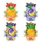 Templates for labels of juice from orange and plum Stock Images
