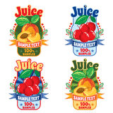 Templates for labels of juice from peach and cherries Stock Photography
