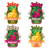 Templates for labels of juice from pear and raspberries Stock Photo