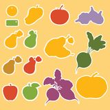 Templates for labels, vegetables and fruits Royalty Free Stock Images