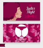 Templates for ladies night party with disco style lady and cocktail stock photo
