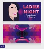 Templates for ladies night party, vegas style, can be used as banner for bachelor party stock images