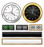 Templates of mechanical and electronic clock Stock Photo
